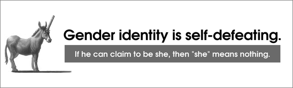 Gender Identity Is Self-Defeating. If he can claim to be she, then 'she' means nothing.